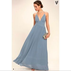 Lulus Depths of My Love Dusty Blue Maxi Dress